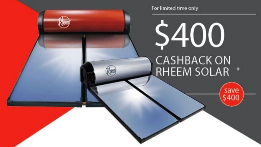 rheem solar hot water cash back offer