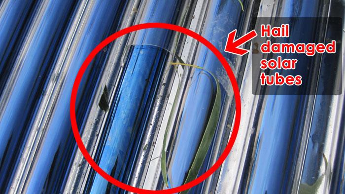 hail damaged solar hot water tubes
