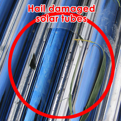 repair hail damaged solar hot water heater tubes